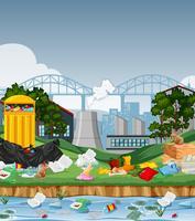 Lixo na cidade urbana vetor