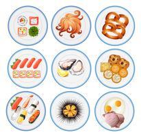 Sushi e outros tipos de comida em pratos vetor