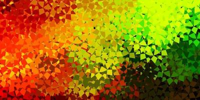 modelo de vetor verde e amarelo claro com formas de triângulo.
