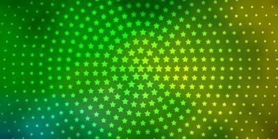 de fundo vector verde e amarelo claro com estrelas coloridas.