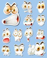 Adesivo definido com rostos diferentes vetor