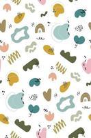 Resumo fofo doodles padrão sem emenda com formas orgânicas coloridas vetor