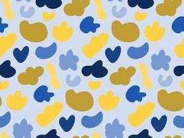 Seamless pattern vector background com formas amarelas e azuis