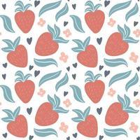 bonito padrão sem emenda com morangos desenhados à mão, folhas, flores vetor