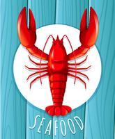 Uma lagosta vermelha no prato vetor