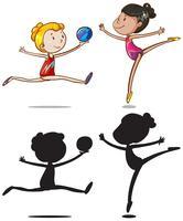 Conjunto de caracteres de atletas de ginástica