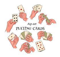 jogatina. cartas de jogar na mão. casino, fortuna, sorte. grande conjunto. vetor