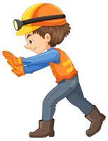 Um trabalhador da construção civil em fundo branco vetor
