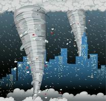 Um desastre de ciclone na cidade vetor