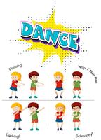Um conjunto de dança adolescente vetor