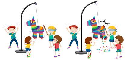 Crianças, bater, pinata, jogo vetor