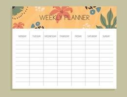 conceito de planejador semanal tropical vetor