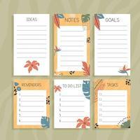 conjunto de notas de papel floral vetor