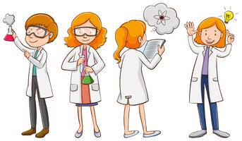 Cientistas masculinos e femininos vetor