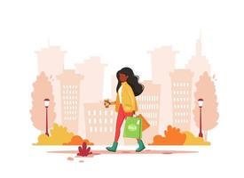 mulher negra às compras na cidade com café. estilo de vida urbano vetor