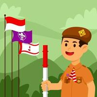 batedor indonésio alegre vetor