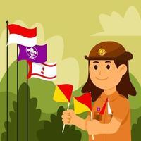 feliz batedor da Indonésia vetor