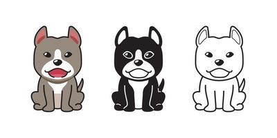 conjunto de desenho vetorial de cão pitbull terrier vetor