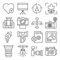 pacote de ícones lineares de equipamento fotográfico vetor