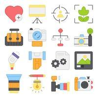 pacote de ícones planos de equipamentos fotográficos vetor