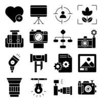 pacote de ícones sólidos de equipamento fotográfico vetor
