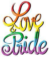 Design de texto de amor e orgulho vetor