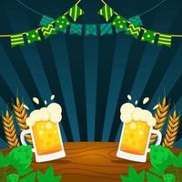 canecas de cerveja na mesa vetor