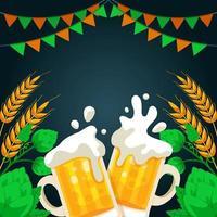 duas canecas de cerveja torrando entre lúpulo e cevada vetor