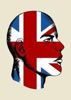 desenhe a ilustração de um rosto com a insígnia do Reino Unido vetor