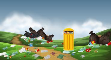 Uma poluição na natureza vetor