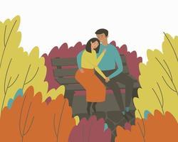 um casal apaixonado se senta em um banco em um parque de outono em um abraço vetor