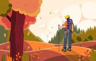 caminhada solo no momento do outono vetor