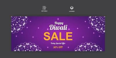 banner de mídia social de venda de diwali e modelo de capa do Facebook vetor