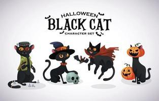 personagem gato preto de halloween vetor