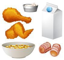 Comida e bebida variadas vetor