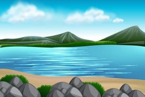 Uma vista do lago natural vetor