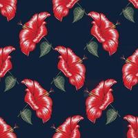 sem costura padrão floral fundo de flores de hibisco vermelho. vetor