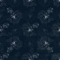 fundo de flores de hibisco sem costura padrão floral. vetor