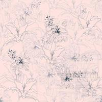 Seamless floral pattern lilly e hibiscus flowers pink background. vetor