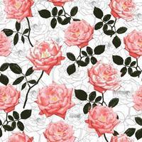 padrão sem emenda rosa rosa flores vintage abstrato. vetor