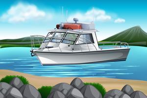 Um barco na natureza vetor