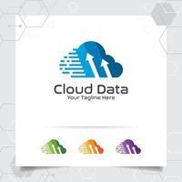 nuvem hosting design de vetor de logotipo com símbolo digital e de dados