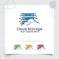 cloud hosting logo vector design com conceito de servidor e nuvem