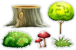 Conjunto de adesivos da natureza com a árvore e o arbusto vetor