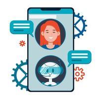 conceito de chatbot. usuários conversando com robô fofo de bate-papo vetor
