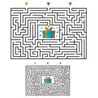 Labirinto de labirinto retangular jogo para crianças. enigma da lógica do labirinto. vetor