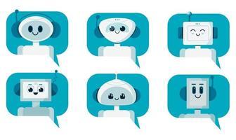 conjunto de robôs de bate-papo de robô fofo sorridente na bolha do discurso. Apoio, suporte vetor