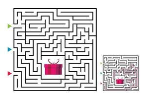 jogo labirinto de labirinto quadrado para crianças. lógica do labirinto vetor