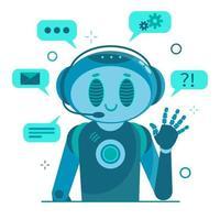 robô sorridente chat personagem robô ajudando vetor