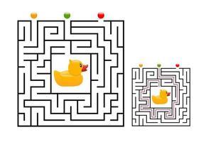 Labirinto de labirinto quadrado para crianças com pato de borracha. lógica do labirinto vetor